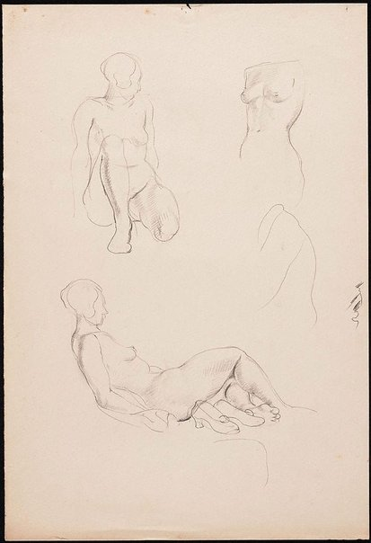 An image of recto: Studies of a female nude, London verso: Studies of a female nude, London by Nora Heysen