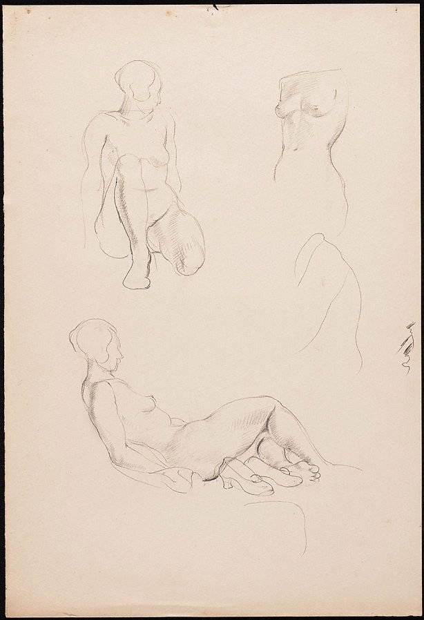 An image of recto: Studies of a female nude, London verso: Studies of a female nude, London