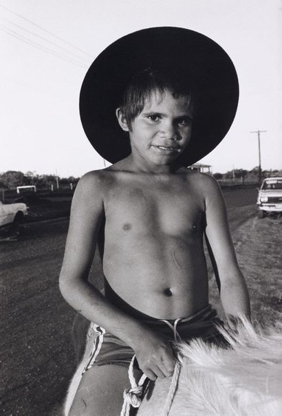 An image of Sono on horseback, Dodge City, Brewarrina by Sandy Edwards