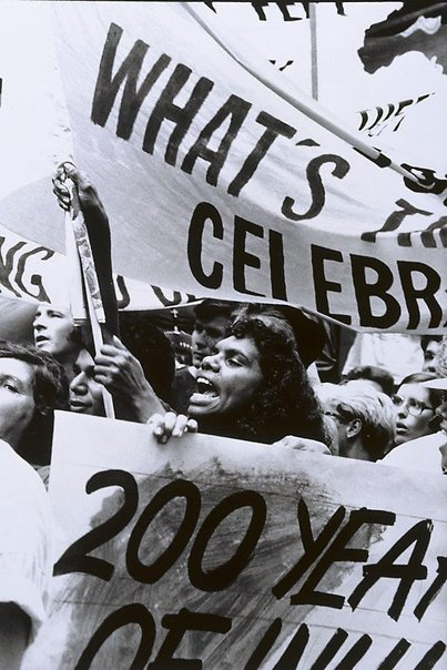 An image of Demonstration, Opening Bicentennial, NSW by Sandy Edwards
