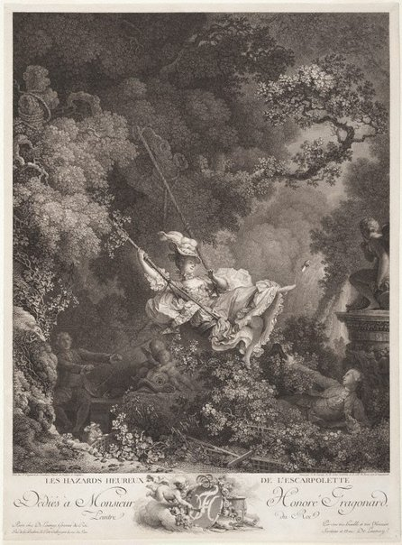 An image of The swing by Nicolas de Launay, after Jean-Honoré Fragonard