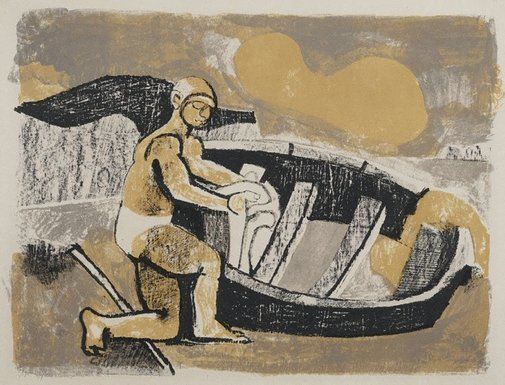 An image of Boy by a dingy by Keith Vaughan