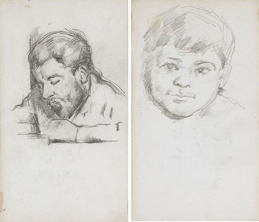 An image of recto: Émile Zola reading, verso: Head of Paul Cézanne fils by Paul Cézanne