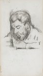 Alternate image of recto: Émile Zola reading, verso: Head of Paul Cézanne fils by Paul Cézanne