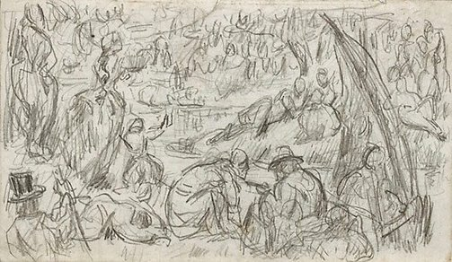 An image of recto: Imaginary scene verso: Study of a woman and faun by Paul Cézanne