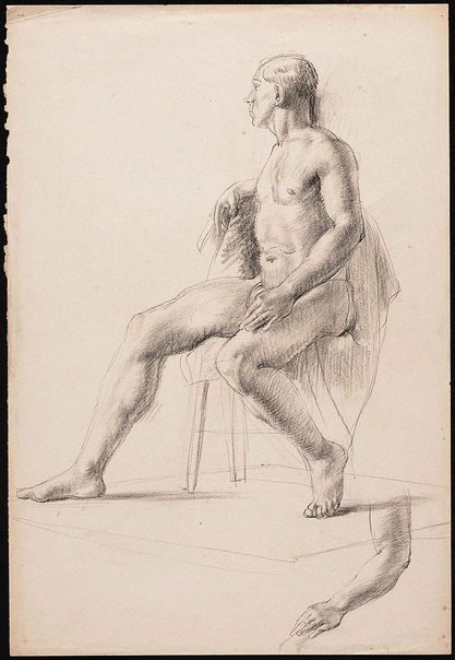An image of recto: Studies of a seated male nude in a loin cloth, London verso: Four studies of a male nude by Nora Heysen