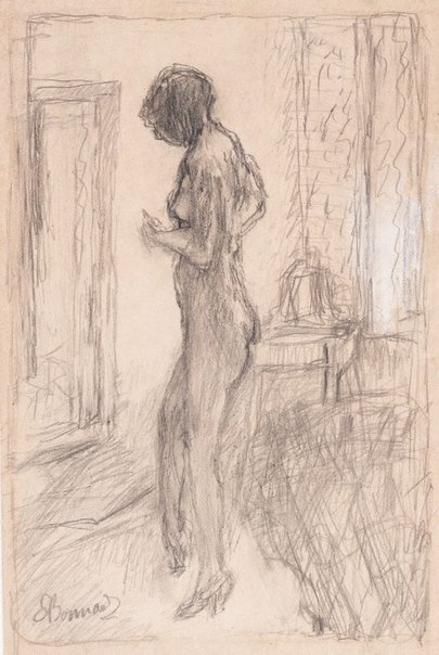 An image of Nude in front of a mirror by Pierre Bonnard