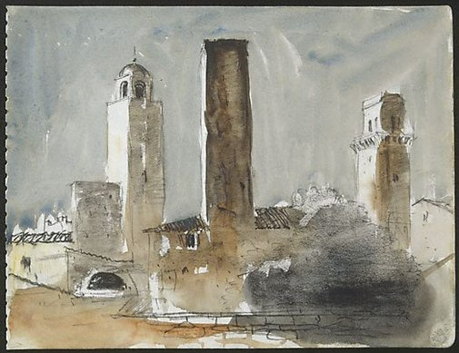 An image of Towers, San Gimignano by Lloyd Rees