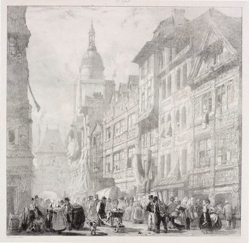 An image of Rue du gros horloge, Rouen by Richard Parkes Bonington