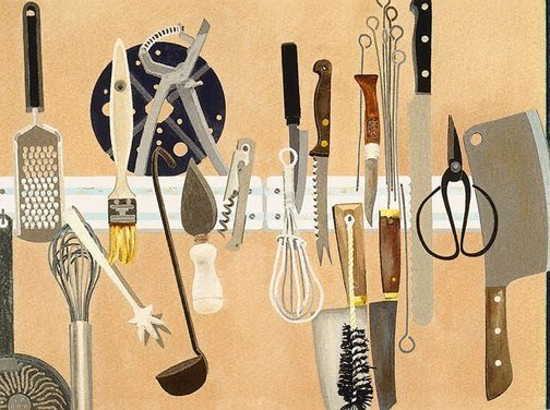 An image of Kitchen utensils by Cressida Campbell