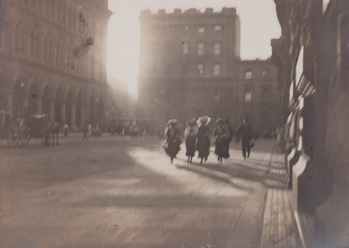 An image of Untitled (hurrying figures in Martin Place) by Harold Cazneaux