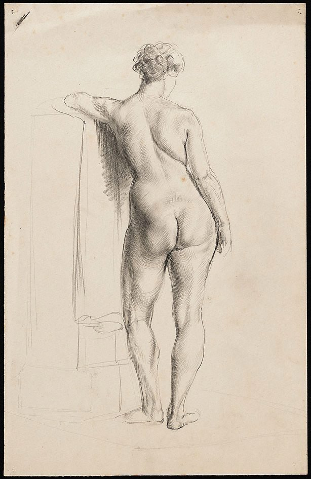 An image of Standing female nude viewed from behind, leaning on a pillar, London