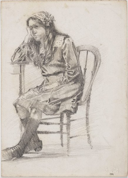 An image of recto: Seated girl verso: Head of Angèle Rees by Lloyd Rees