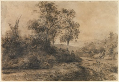 An image of Bacchus Marsh, Werribee Creek by Louis Buvelot