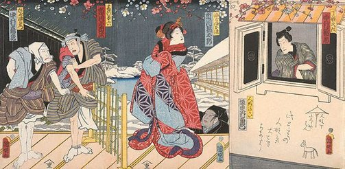 An image of Scene from the love story of Osome and Hisamatsu. A snowy evening scene during plum blossom season, the 2 left-hand sheets showing Osome as a puppet, operated by a veiled puppeteer, and two ruffians. The right-hand sheet shows the hero, Hisamatsu, who has been locked in a 'kura' storehouse. by Utagawa KUNIAKI II