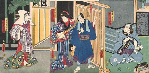 An image of Scene in the pleasure quarters with geisha playing the samisen by Utagawa KUNISADA