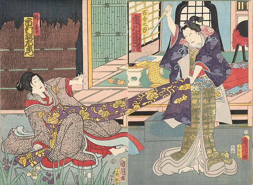 An image of 2 women fighting over an obi, irises in the foreground by Toyohara KUNICHIKA