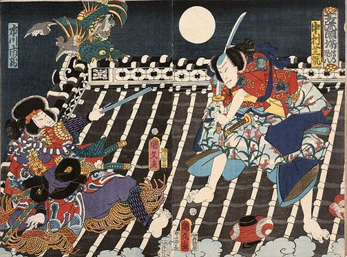 An image of Two warriors fight on a rooftop at night time by Utagawa KUNIHISA