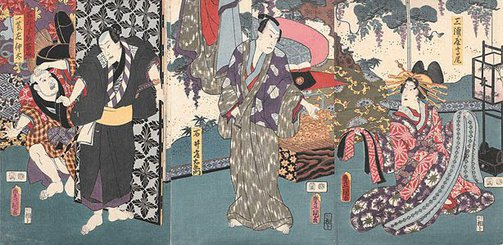 An image of Interior scene with woman, two men and ?servant by Utagawa KUNISADA /TOYOKUNI III