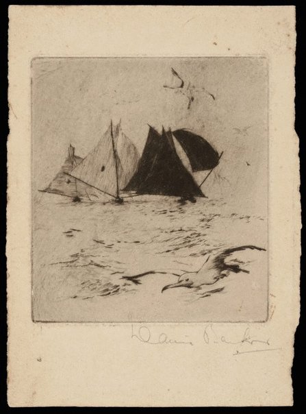 An image of (Untitled - Sailing ships and seagull) by David Barker