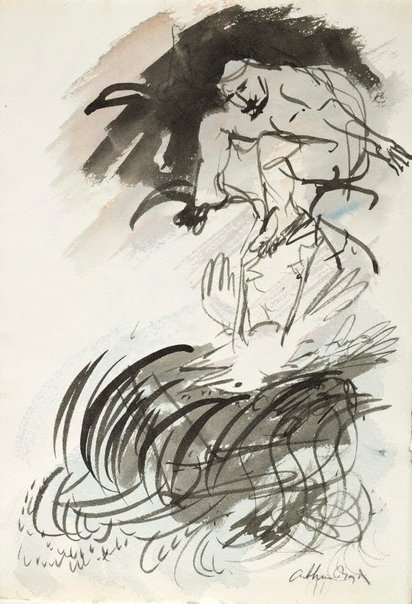 An image of (Figure and bird) by Arthur Boyd