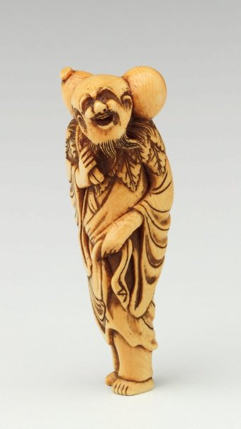 An image of Netsuke in the form of Chôkarô 'sennin' carrying a gourd by