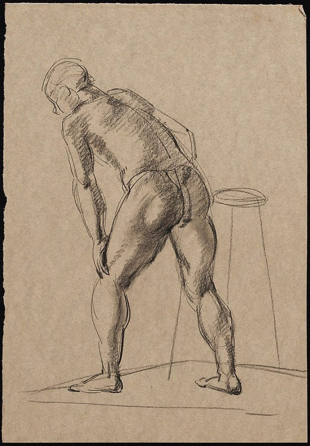 An image of Male nude viewed from behind, with left hand leaning on left knee, London