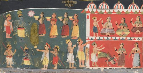 An image of Gopis approach Krishna by