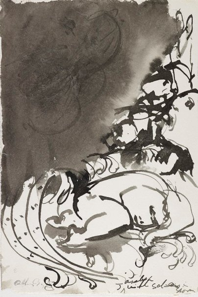 An image of recto: Jonah asleep with... in storm verso: (drawing) by Arthur Boyd