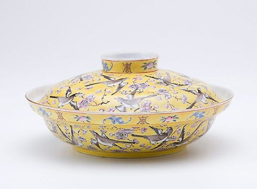 An image of Covered bowl with plum blossom and magpie design by