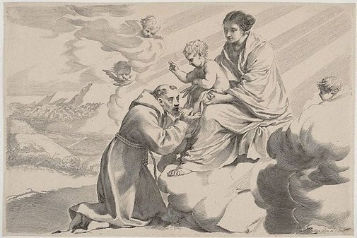 An image of The Virgin and Child adored by St Francis by Claude Mellan