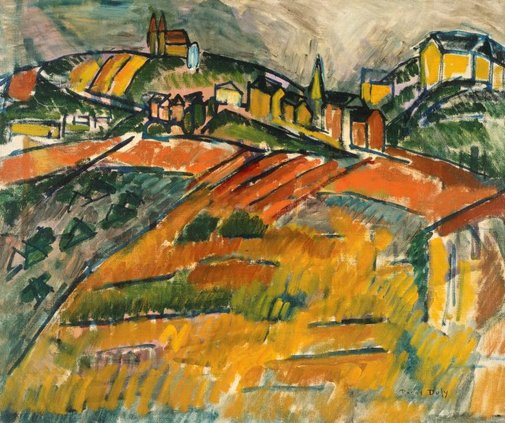 An image of Yellow and red landscape: the beach at Sainte-Adresse by Raoul Dufy