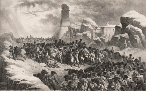An image of Passage of the French Army through the Guadarrama mountains by Hippolyte Bellangé