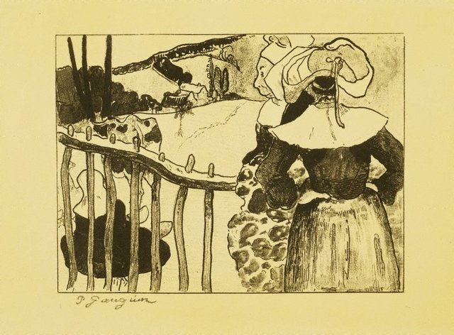 An image of Breton women at a fence