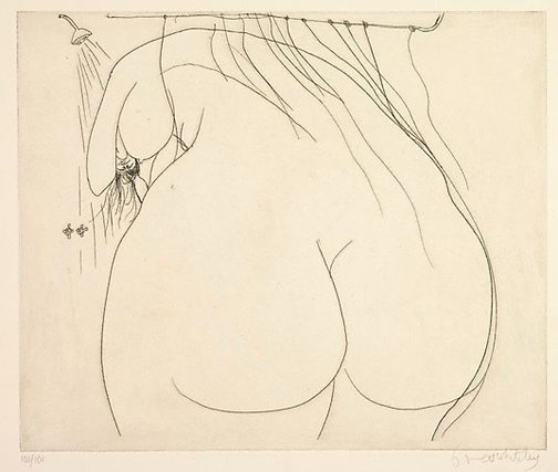 An image of Woman under the shower by Brett Whiteley