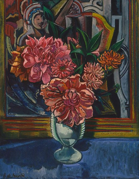 An image of Still life (pink dahlias) by Roy de Maistre