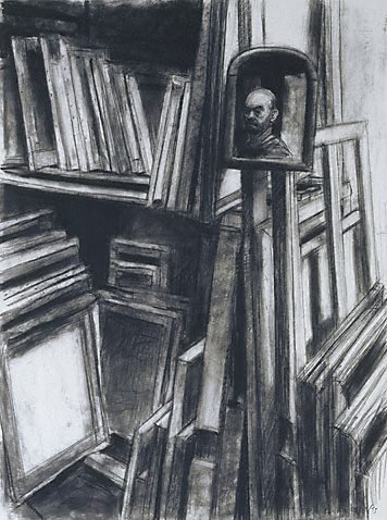 An image of Self portrait with paintings by Rick Amor