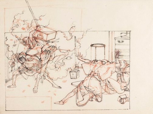 An image of (Ruffians entering house) by Tsukioka YOSHITOSHI