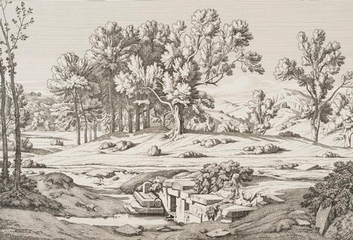 An image of Mount Pentelicon: view from one of the sources of the Pentelicon by Théodore d'Aligny