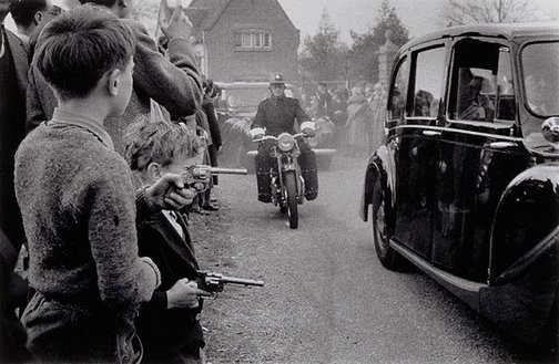An image of Bulganin and Kruschev leaving Chequers, UK by David Moore