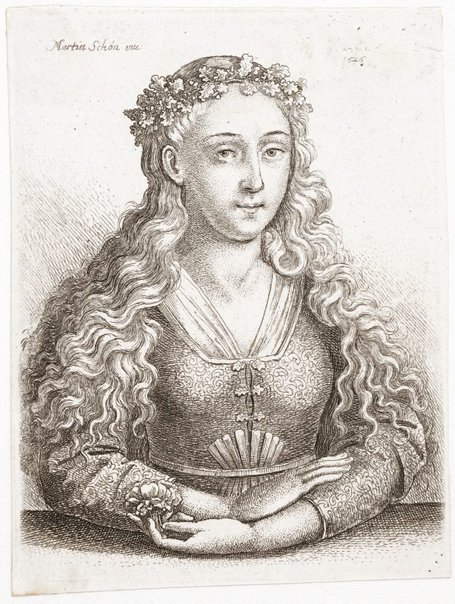 An image of The woman with an oak leaf crown by Wenceslaus Hollar, after Martin Schongauer