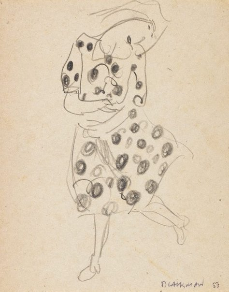 An image of (Woman in spotted dress) by Charles Blackman