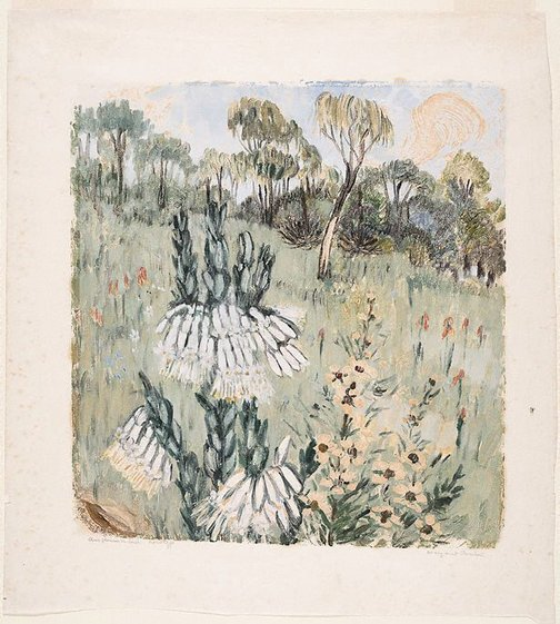 An image of Australian flowers in bush by Margaret Preston