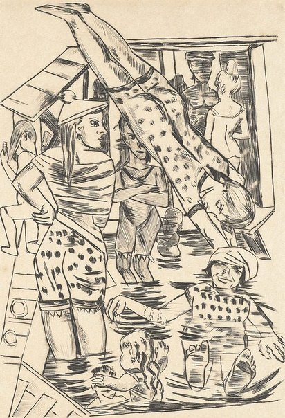 An image of Women's bath by Max Beckmann