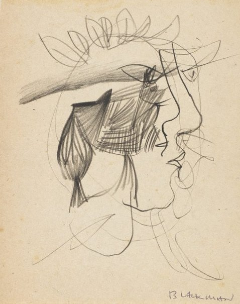 An image of (Head in profile) by Charles Blackman