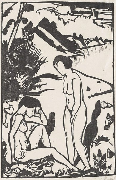 An image of On the shore by Erich Heckel