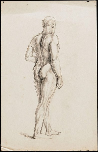 An image of Standing male nude viewed from behind, London by Nora Heysen