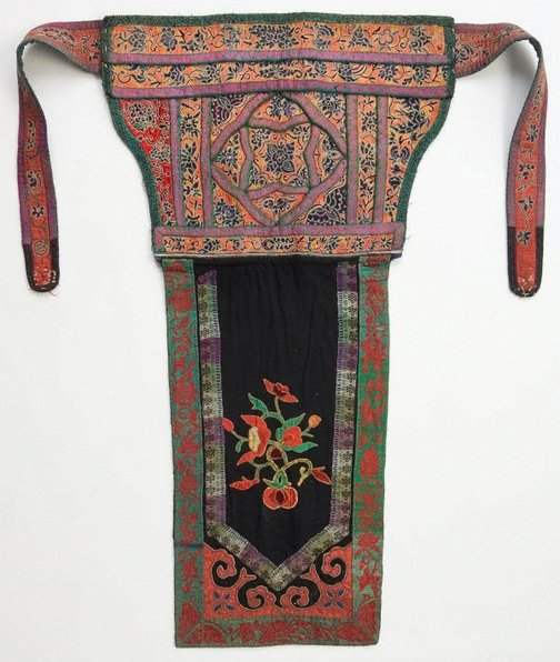 An image of Baby carrier embroidered with orange butterfly design by Miao people