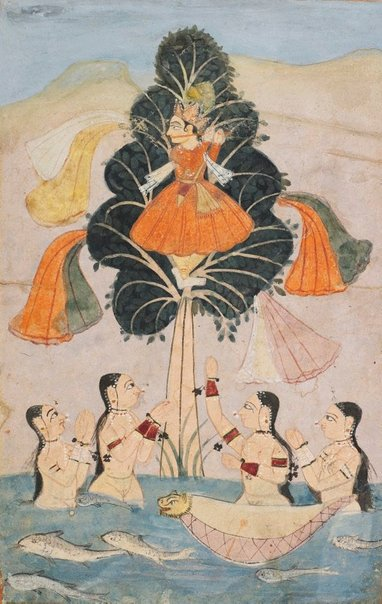 An image of Illustration of the Bhagvata Purana (Krishna fluting; gopis bathing) by
