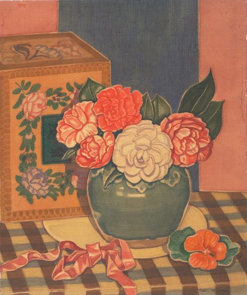An image of (Flowers in a green vase with red ribbon) by Thea Proctor